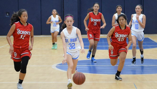 Chloe Miranda of the St. Paul Warriors leads a fast break in an Independent Interscholastic Athletic Association of Guam Girls Basketball League playoff match against the St. John's Knights at St. Paul on Nov. 26, 2016.