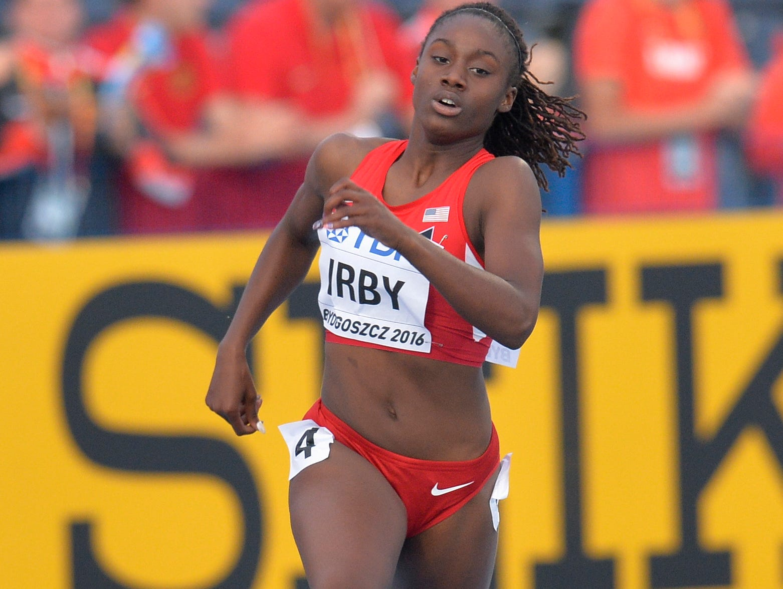 BYDGOSZCZ, POLAND - JULY 20: Lynna Irby from USA competes in Women's 400 metres semi-final during the IAAF World U20 Championships at the Zawisza Stadium on July 20, 2016 in Bydgoszcz, Poland.