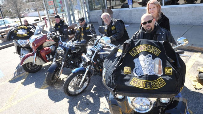 "Last Chance Motorcycle Club members from left, Steve Bishop of Quincy, Ronnie Logan of Rockland, Chris ""Mouse"" Murphy of Brockton, Tom Ventosi of Quincy and Ed and Heather Bullio of Brockton. Tom Gorman/For The Patriot Ledger"