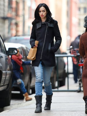Krysten Ritter n on the set of 'Jessica Jones' filming in Tribeca on March 24, 2015 in New York.