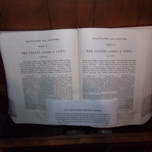 The Bible Museum in Goodyear displays antique bibles such as the 1841 English Hexapla Parallel New Testament.