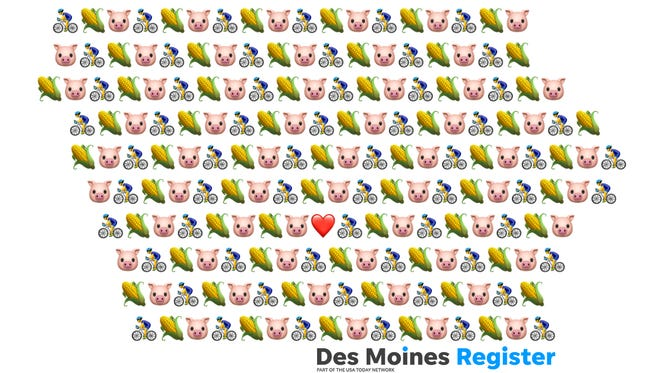 The state of Iowa, built out of pig, corn and bicycle emojis by Des Moines Register producer Nicole Derong.
