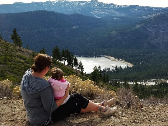 Loryn Elizares of Reno and her daughter, Violet, on a hike near Negro Canyon in Truckee.