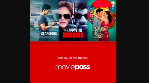 MoviePass promo highlighting the movies Searching, Happytime Murders, and Crazy Rich Asians.