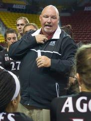NMSU head volleyball coach Mike Jordan and his Aggies