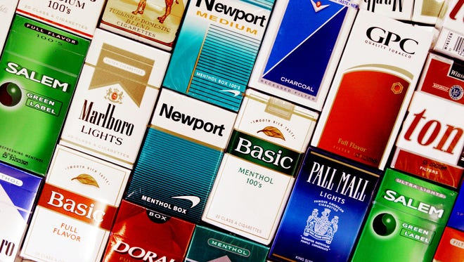 This Wednesday, Sept. 14, 2005 file photo shows cigarette boxes in a store in Brunswick, Maine.