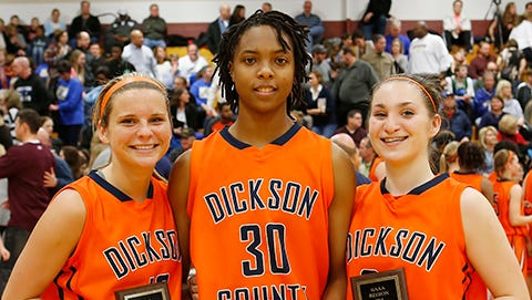Dickson County High's Region 6-3A All Tournament players - Lainey Reed, Lea Lea Carter and Emily Beard. DC beat Brentwood for the championship.