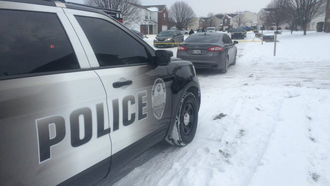 Brownsburg police at the scene of a fatal shooting on Sunday.