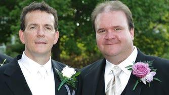 Declan (left) and Daniel O'Scanlon at Declan's wedding.