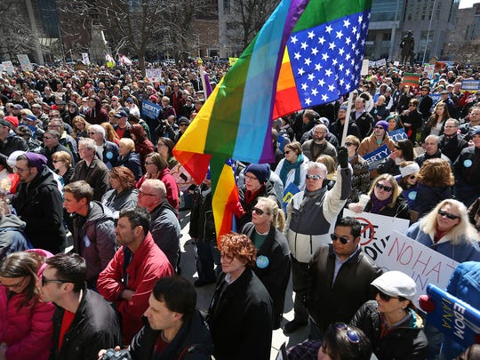 Several thousand opponents of Indiana's Religious Freedom