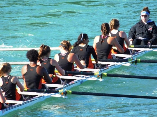The NRC's women's eight-plus crew, led by coxswain