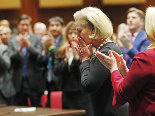 Gov. Doug Ducey acknowledges Cindy McCain during his