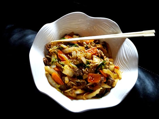 "Dup bap is Korean for ""rice with stir-fry."" It is one"