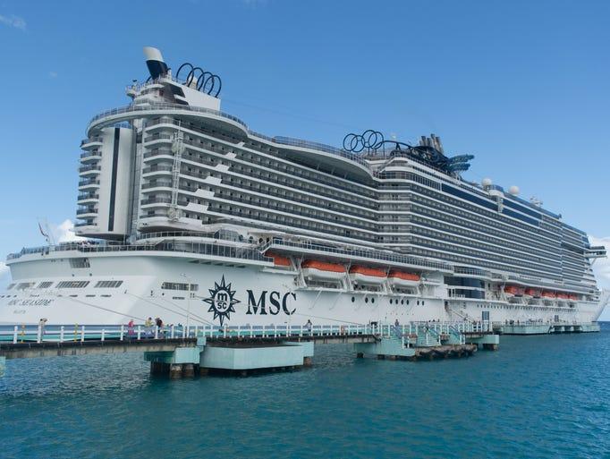 MSC Seaside's exterior profile is uniquely distinctive.