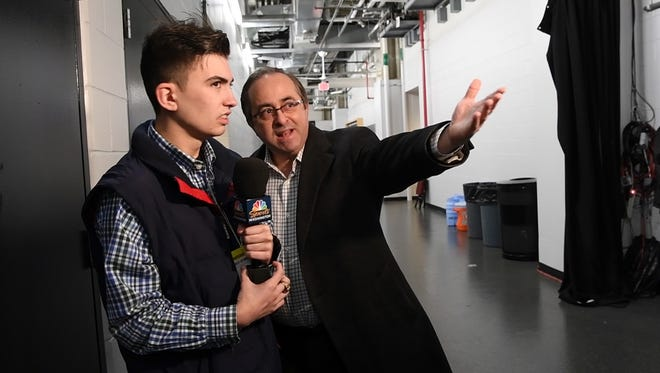 Jefferson High School senior Peter Fifoot, left, gets interview advice from NBC Sports Washington play-by-play announcer Joe Beninati in Newark, NJ on Thursday, Jan. 18, 2018.