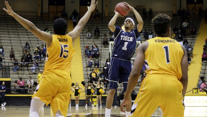 JSU guard Chace Franklin (1) looks to guide the Tigers to a road win against Miami of Ohio/