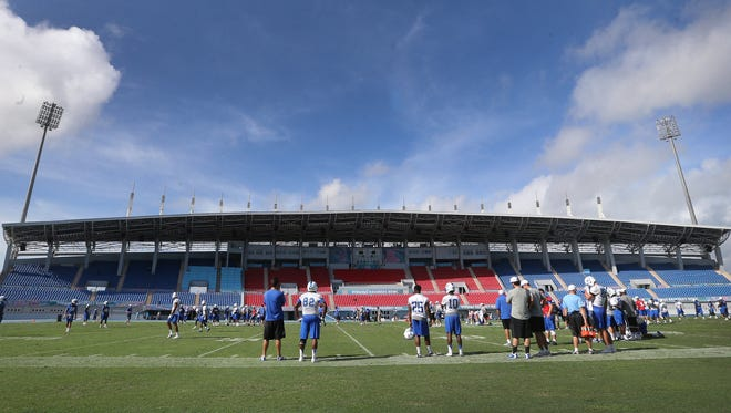 MTSU practices for the first time, on Tuesday, Dec. 22 2015, at the Thomas A. Robinson National Stadium the site of the Bahamas Bowl on Thursday Christmas Eve.