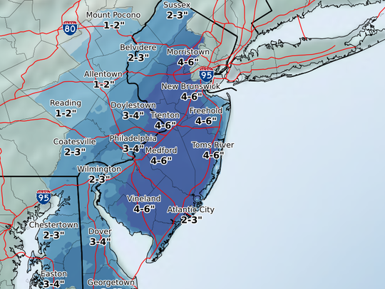 Range of snow totals from this weekend's storm.