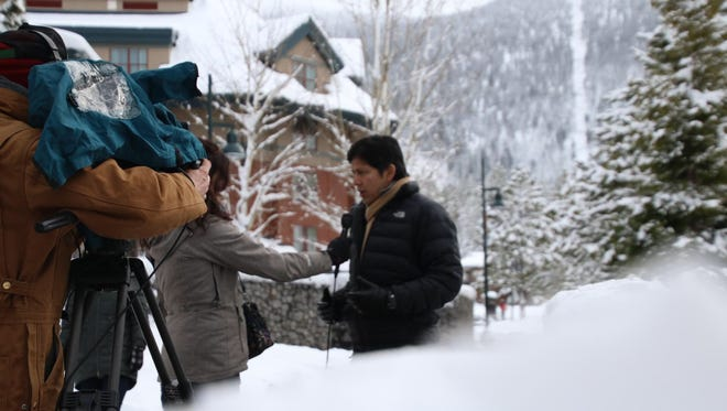California Sen. Kevin DeLeon, who supports aggressive measures to combat human-caused climate change, conducts an interview in South Lake Tahoe on Jan. 12, 2017.