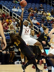Florida State Seminoles guard Shakena Richardson (24) shoots over Arizona State Sun Devils guard Elisha Davis (23).