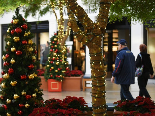 Paramus Park Mall decorated for the Holidays on Friday