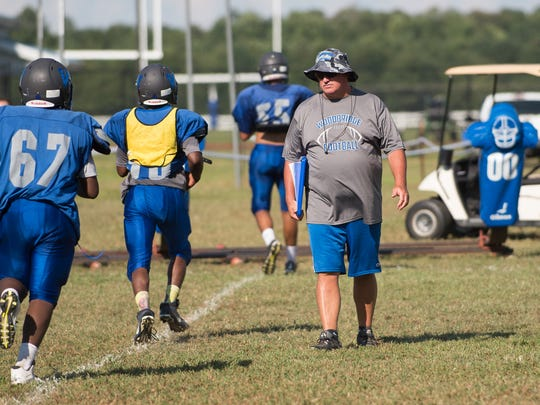 Woodbridge High School football coach Ed Manlove during practice.