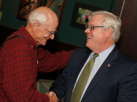 Senator Tom O'Mara celebrates his victory over Leslie Danks Burke Tuesday after clinching the Senator seat in the General Election.