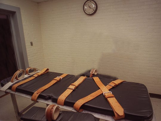 A gurney is used to strap death row inmates for execution