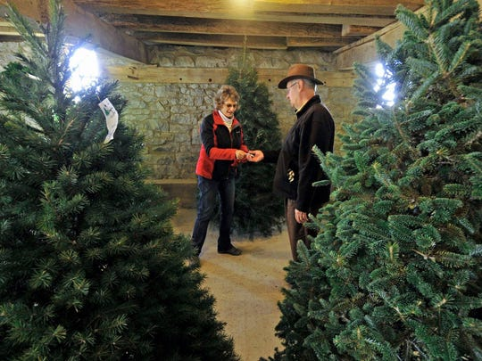 Linda Heckman, of Heckman's Tree Farm, Chambersburg, gives Rev. Jeff Diller a ticket for the Douglas fir Christmas tree he selected, Friday, Dec. 4, 2015. Heckman's Tree Farm, 7573 Nyesville Rd., will give customers the option to cut their own tree or select one from the showroom barn.
