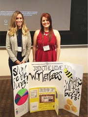 The Provident Bank's Events and Community Relations Administrator Andrea Reid with Courtney Morris, 3rd place winner of Michael L. Karapetian '97 Entrepreneurship Symposium's business case competition.