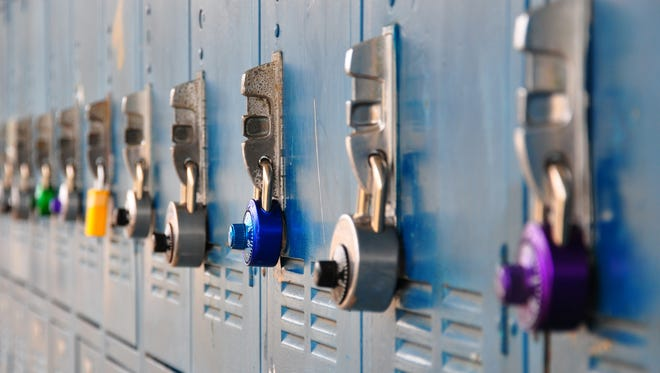 Colorful locks on a bank of school lockers