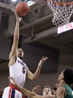 Gonzaga guard Nigel Williams-Goss (5) shoots during the first half of an NCAA college basketball game against San Francisco.