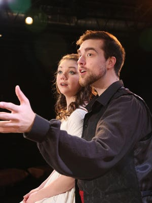 "Keara Byron and Nicholas Carroll star as Luisa and El Gallo in the Cider Mill Playhouse production of ""The Fantasticks."""