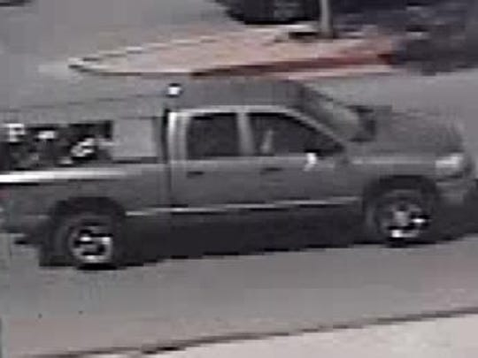 A security camera filmed the burglary suspects' truck.