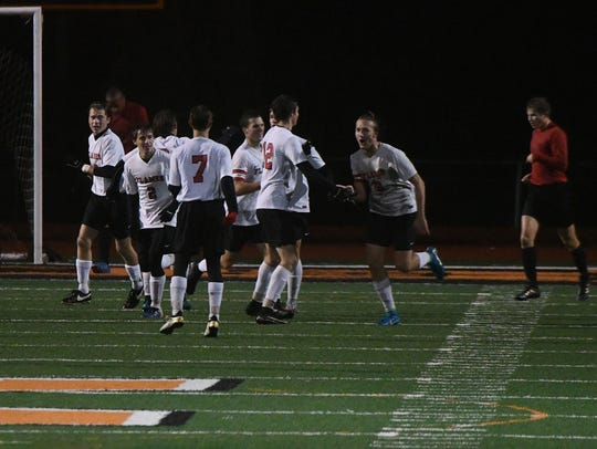 Mansfield Christian players celebrate a goal in Wednesday's
