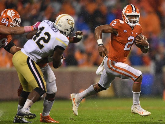 Clemson quarterback Kelly Bryant (2) carries against