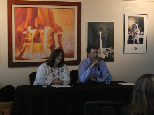 NSF Caroline Blanco (left) and David Boboltz (right) take questions from the public on alternatives to Sacaramenrto Peak Observatory so it can stay operational.