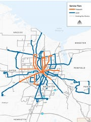 A draft plan shows a new fixed-route system divided