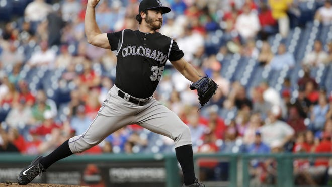The Colorado Rockies' Chad Bettis pitches in May. The Rockies have reinstated Bettis from the disabled list.