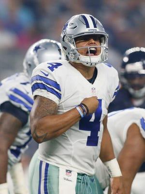 Dallas Cowboys quarterback Dak Prescott (4) hasn't thrown an interception this year.