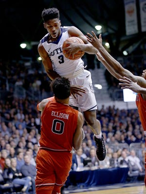Butler Bulldogs guard Kamar Baldwin (3) is fouled by St. John's Red Storm guard Malik Ellison (0) in the first half of their game Wednesday, February 15, 2017, evening at at Hinkle Fieldhouse.