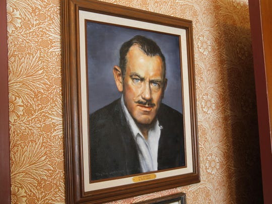 A painting of Nobel and Pulitzer Prize-winning novelist John Steinbeck at the Steinbeck House in Salinas.