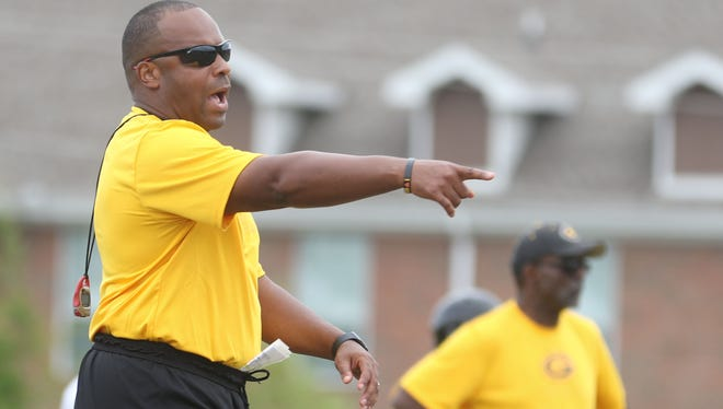 Grambling's head coach Broderick Fobbs shouts instructions during scrimmage practice on Saturday, August 13, 2016.