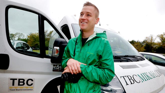 Mikah Myer visits the Stones River National Battlefield on Monday, Oct. 23, 2017, as part of his 3 year tour of all of the US National Parks. Myer is traveling the country visiting the sites in his van.