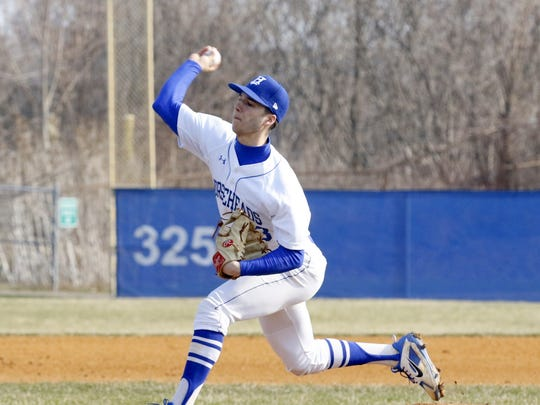 Mike Limoncelli delivers a pitch for Horseheads in a 14-2 win over Union-Endicott on April 13 at Horseheads.