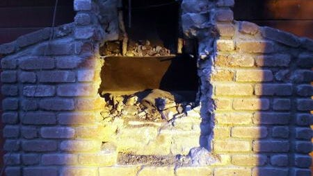 Fresno County Sheriff's Office posted the photo of the chimney in Huron, Calif.