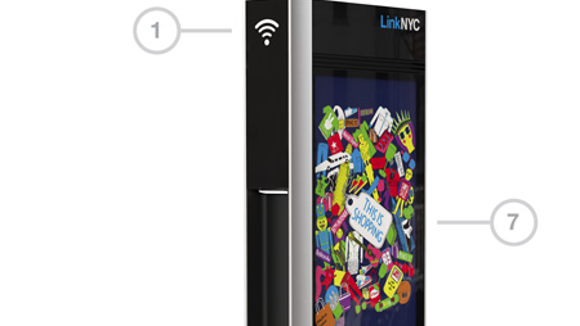 A photo of a LinkNYC kiosk for Wi-Fi being installed in NYC