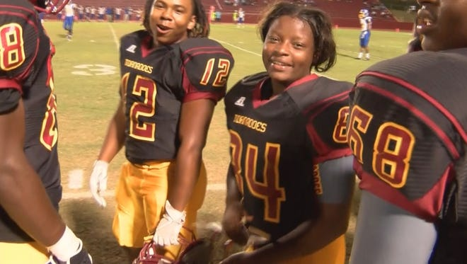 Laurel's Kendall Breland is believed to be the first female in Mississippi high school sports history to score a touchdown in a game.