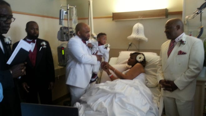 The wedding of Maurese Miller and Tomya Goffney-Miller on April 12 at Christiana Hospital.