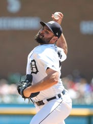 Tigers pitcher Michael Fulmer throws during the first